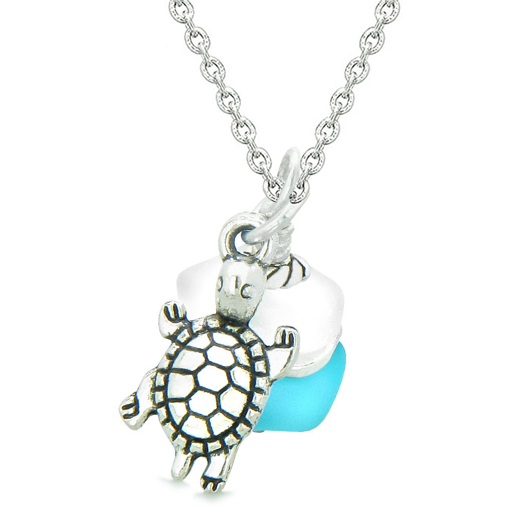 Sea Glass Icy Frosted Waves Lucky Turtle Sky Blue White Positive Energy Amulet 18 Inch Necklace