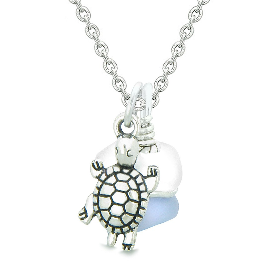 Sea Glass Icy Frosted Waves Lucky Turtle Purple White Positive Energy Amulet 22 Inch Necklace