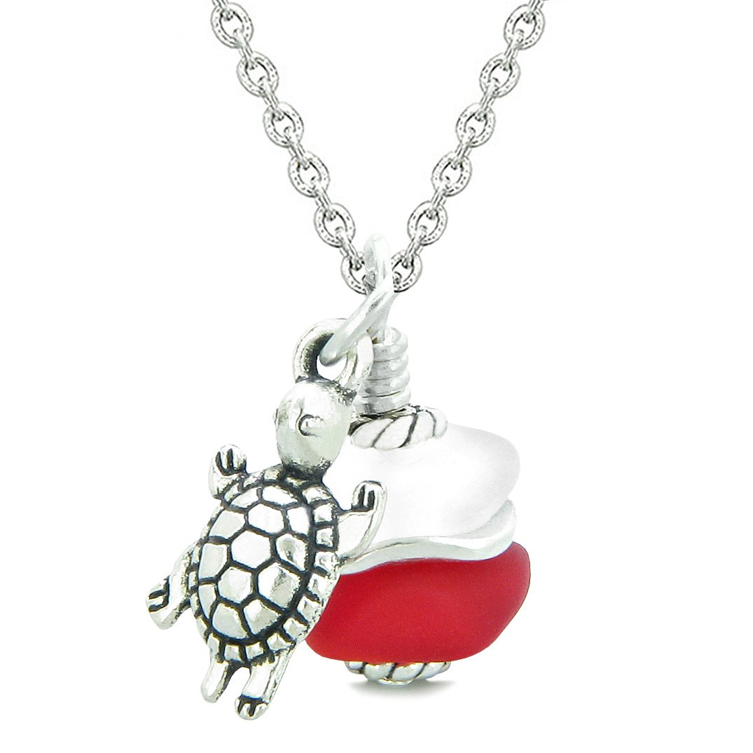 Sea Glass Icy Frosted Waves Lucky Turtle Royal Red White Positive Energy Amulet 22 Inch Necklace