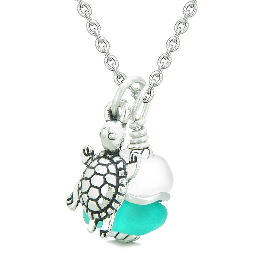 Sea Glass Icy Frosted Waves Lucky Turtle Aqua Blue White Positive Energy Amulet 18 Inch Necklace