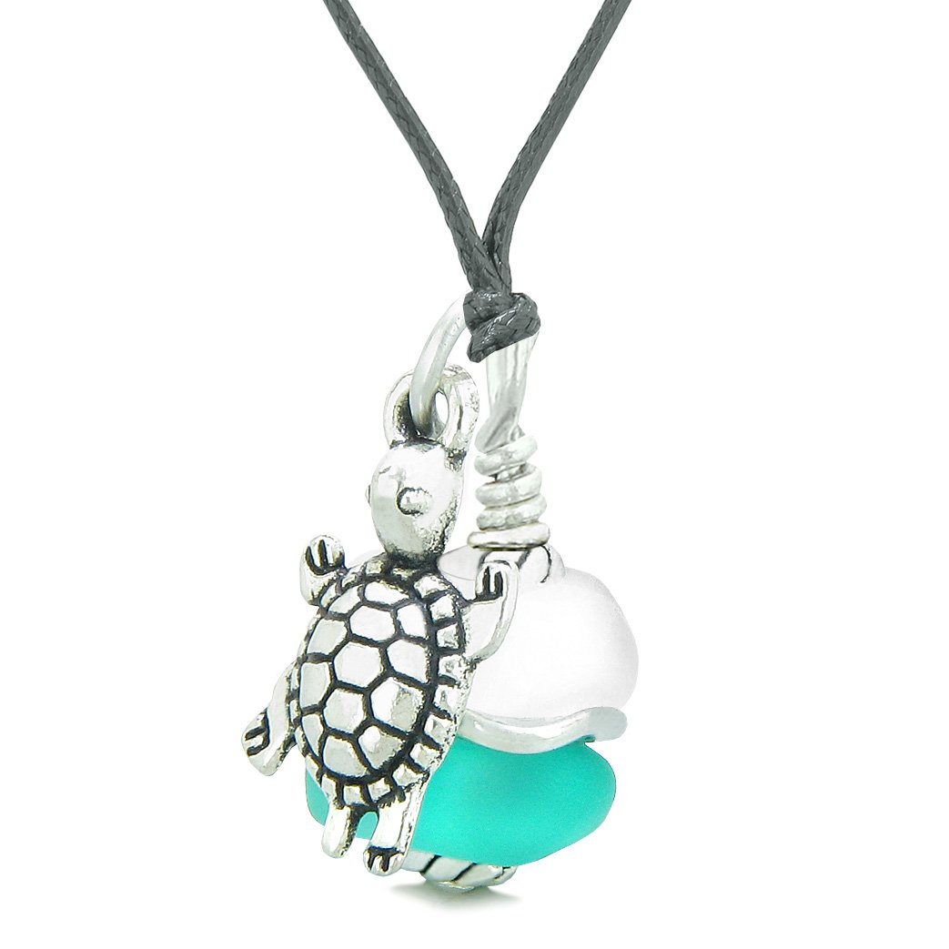 Sea Glass Icy Frosted Waves Lucky Turtle Aqua Blue White Positive Energy Amulet Adjustable Necklace