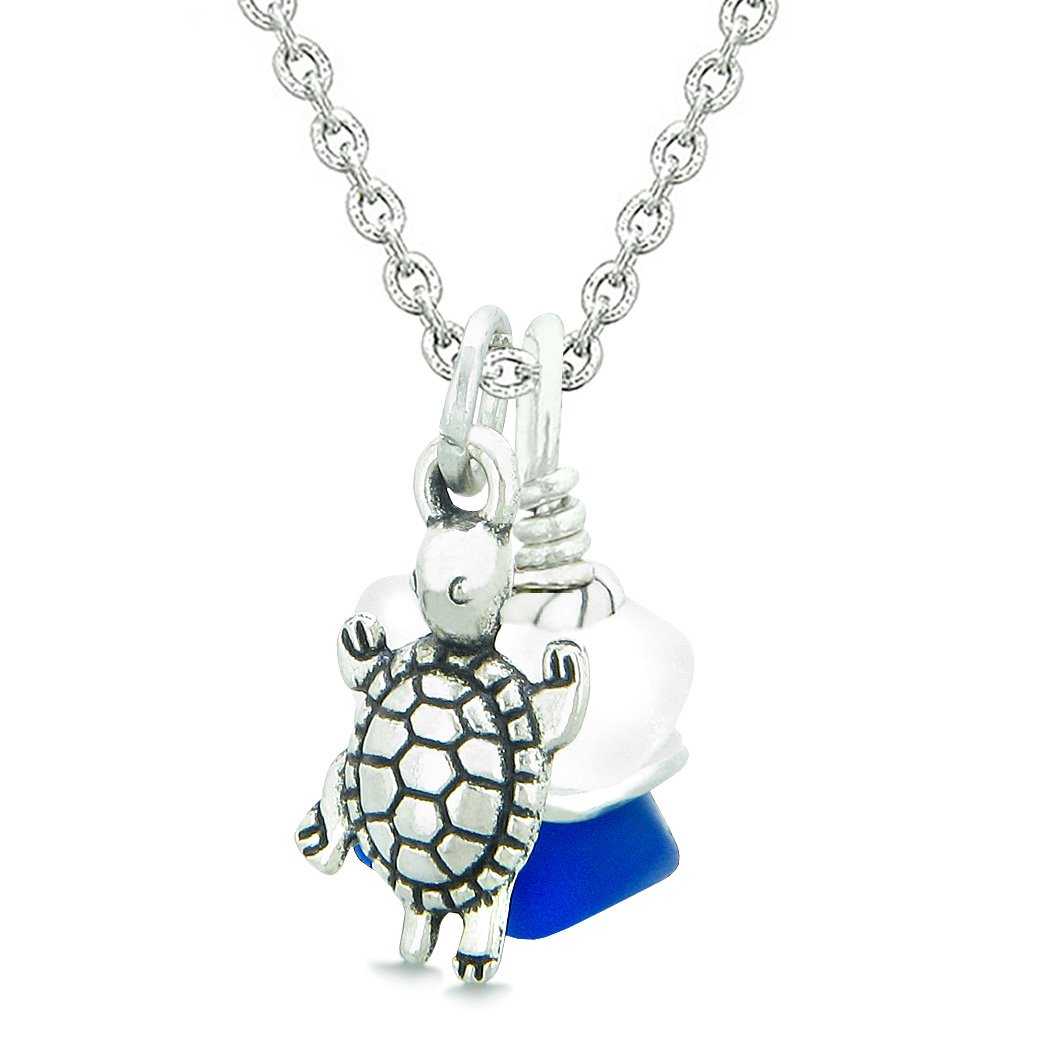 Sea Glass Icy Frosted Waves Lucky Turtle Ocean Blue White Positive Energy Amulet 18 Inch Necklace