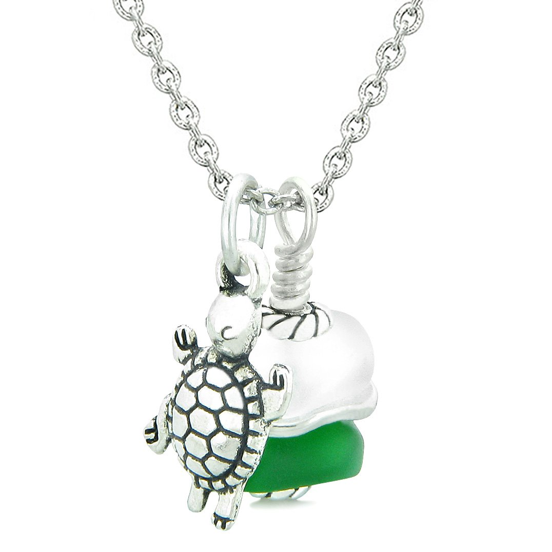 Sea Glass Icy Frosted Waves Lucky Turtle Forest Green White Positive Energy Amulet 22 Inch Necklace