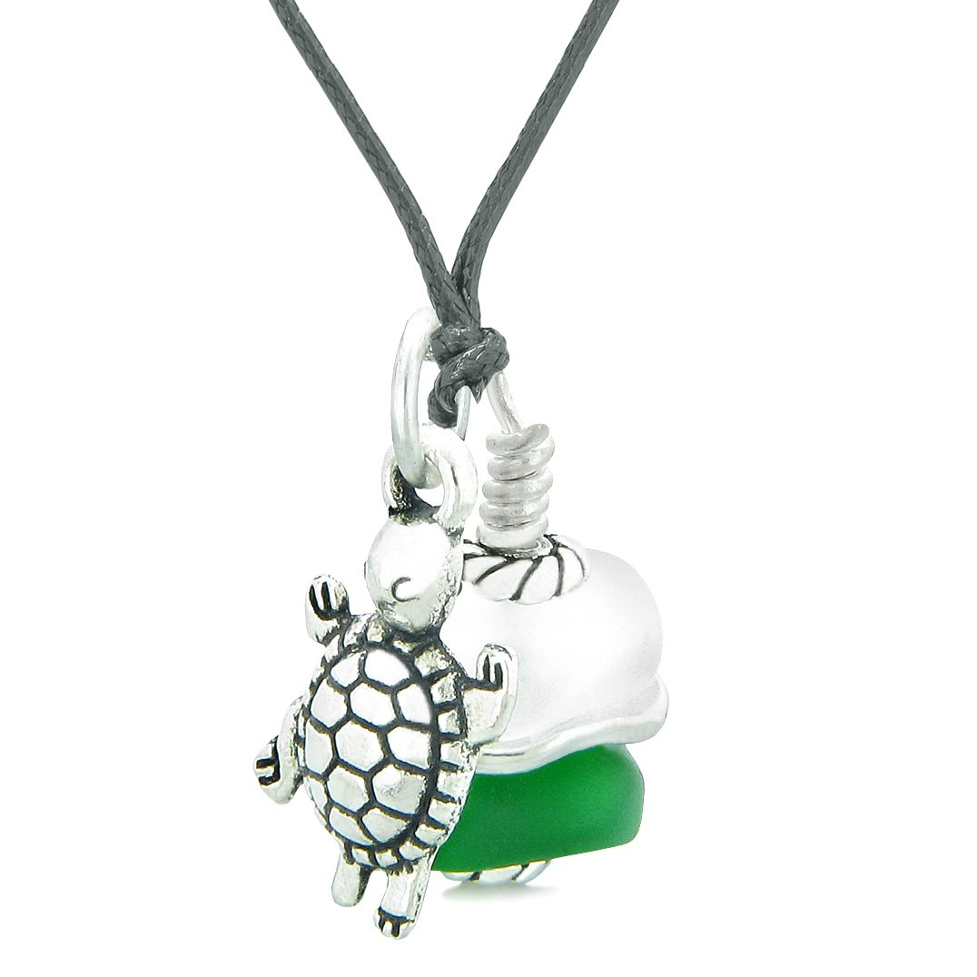Sea Glass Icy Frosted Waves Lucky Turtle Forest Green White Positive Energy Amulet Adjustable Necklace