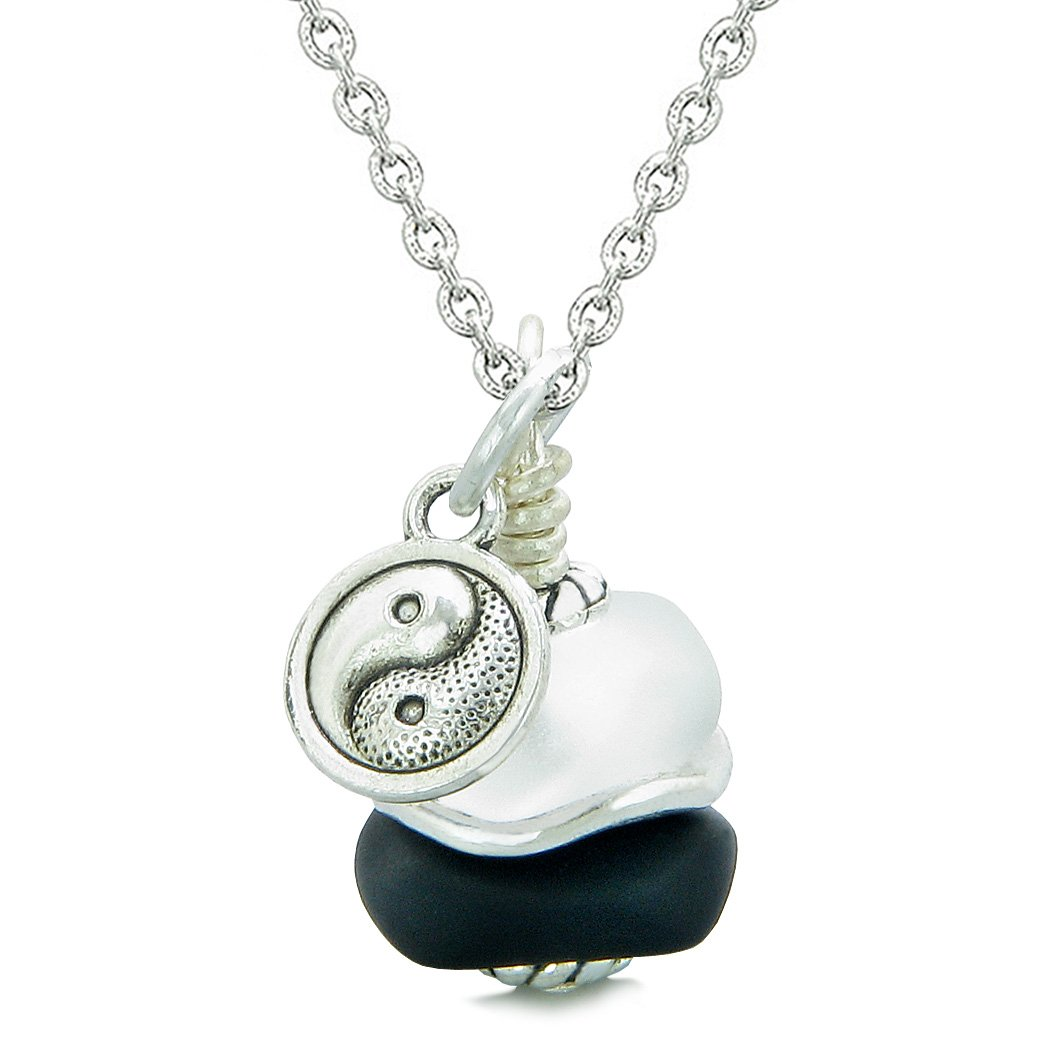 Sea Glass Icy Frosted Waves Lucky Yin Yang Black White Positive Energy Amulet 22 Inch Necklace