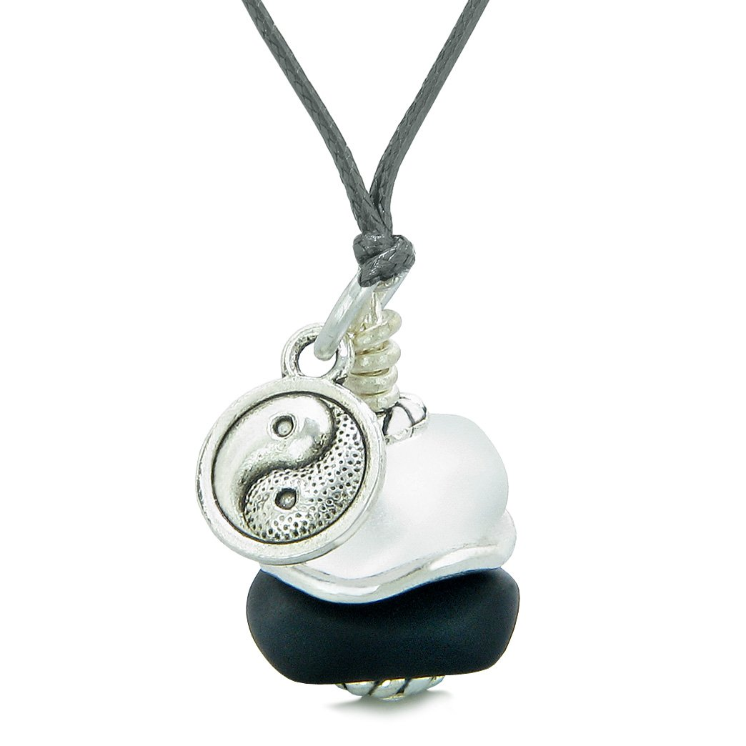 Sea Glass Icy Frosted Waves Lucky Yin Yang Black White Positive Energy Amulet Adjustable Necklace