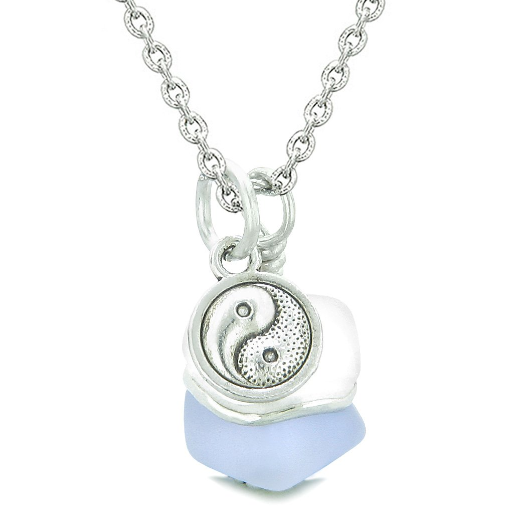 Sea Glass Icy Frosted Waves Lucky Yin Yang Purple White Positive Energy Amulet 22 Inch Necklace