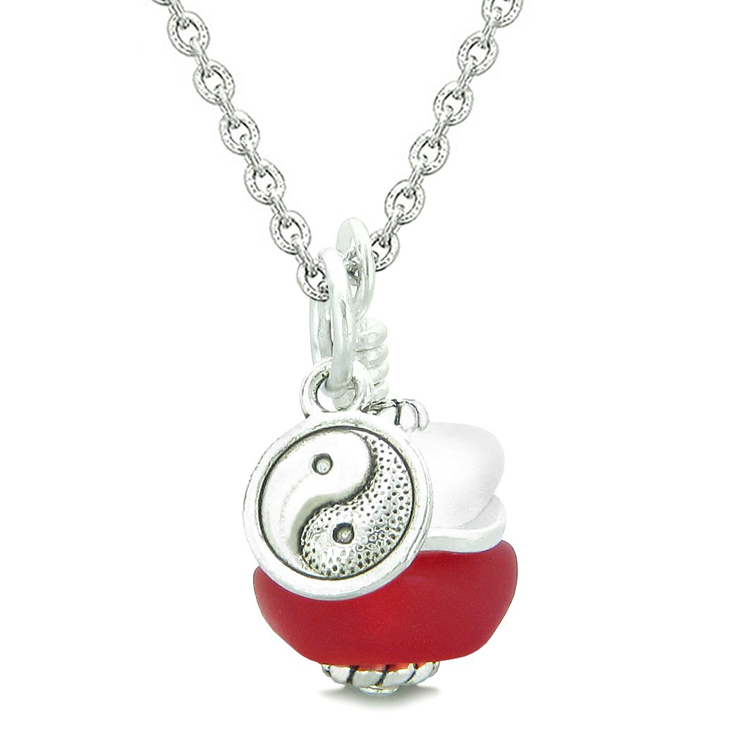 Sea Glass Icy Frosted Waves Lucky Yin Yang Royal Red White Positive Energy Amulet 18 Inch Necklace