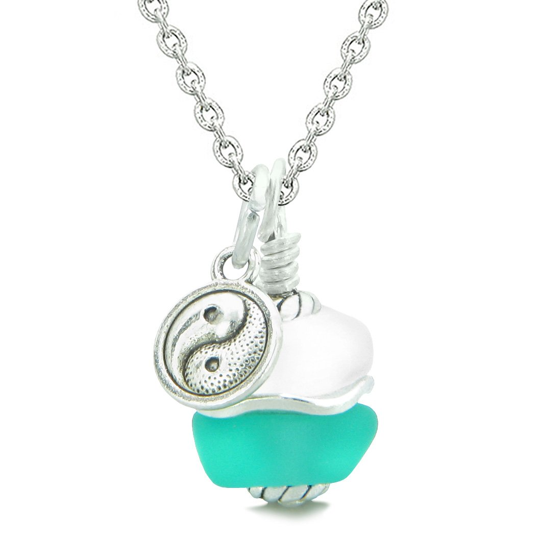 Sea Glass Icy Frosted Waves Lucky Yin Yang Aqua Blue White Positive Energy Amulet 22 Inch Necklace