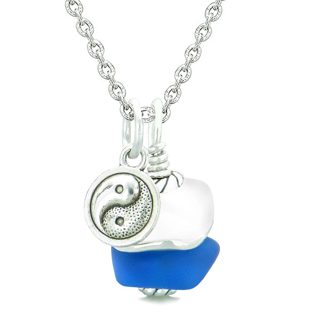 Sea Glass Icy Frosted Waves Lucky Yin Yang Ocean Blue White Positive Energy Amulet 18 Inch Necklace