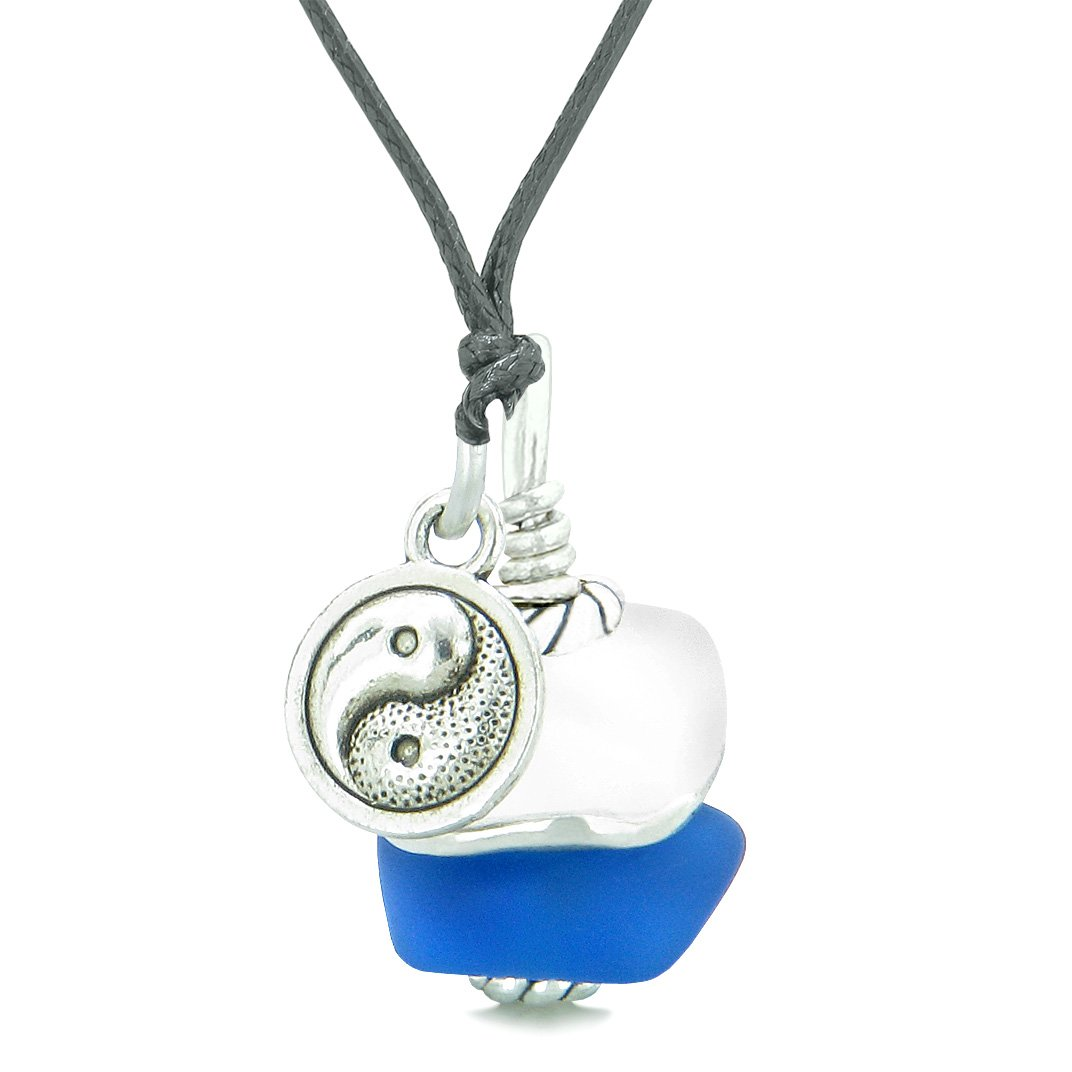 Sea Glass Icy Frosted Waves Lucky Yin Yang Ocean Blue White Positive Energy Amulet Adjustable Necklace