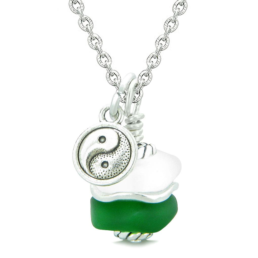 Sea Glass Icy Frosted Waves Lucky Yin Yang Forest Green White Positive Energy Amulet 22 Inch Necklace