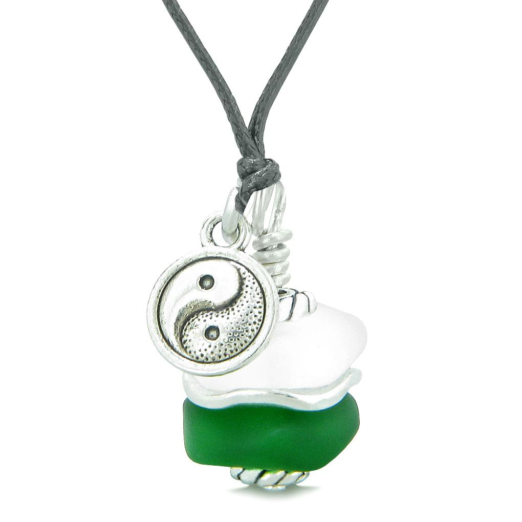 Sea Glass Icy Frosted Waves Lucky Yin Yang Forest Green White Positive Energy Amulet Adjustable Necklace