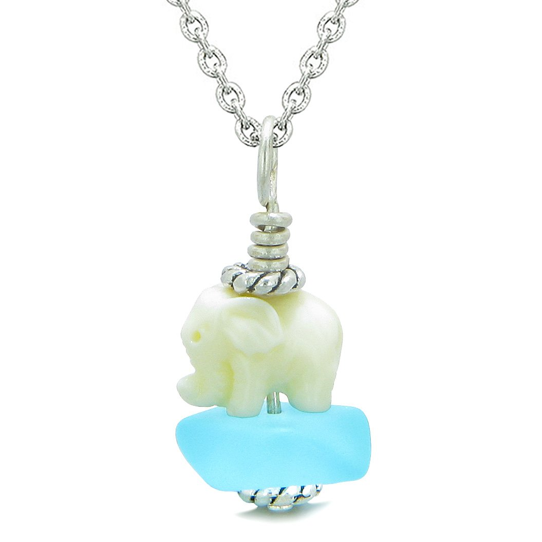 Sea Glass Sky Blue Frosted Cloud White Elephant Lucky Charm Magic Amulet Pendant 22 Inch Necklace