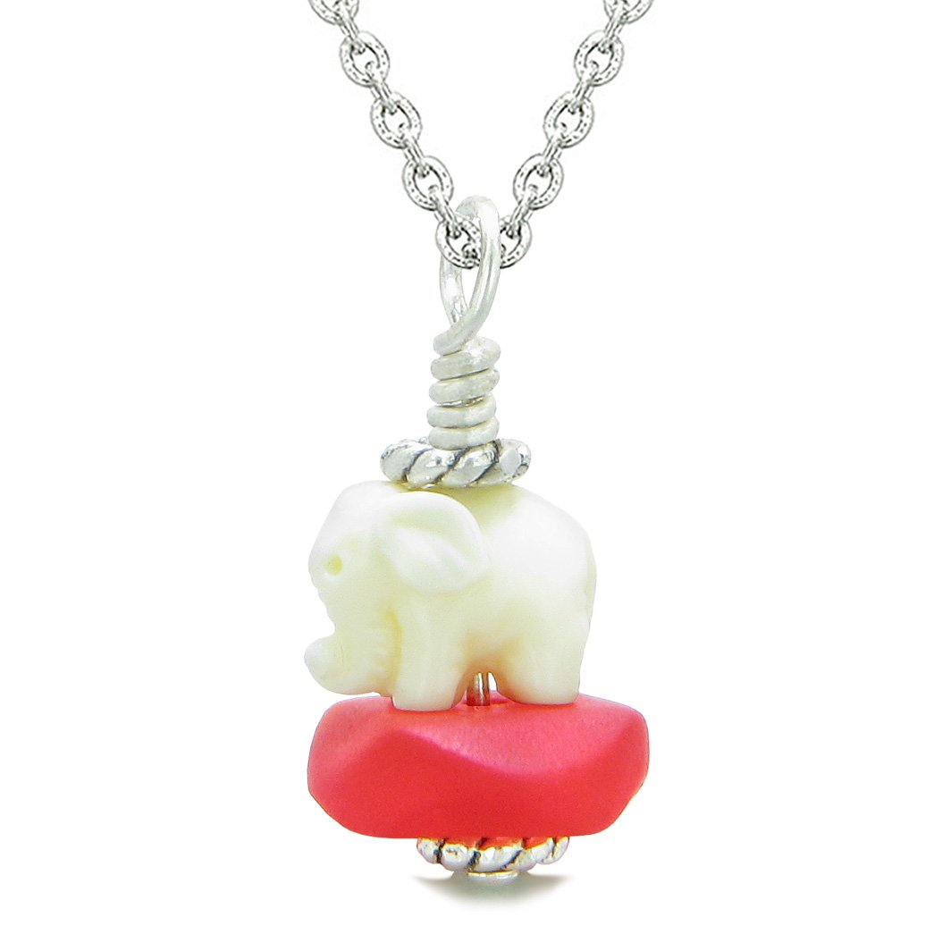 Sea Glass Royal Red Frosted Cloud White Elephant Lucky Charm Magic Amulet Pendant 18 Inch Necklace