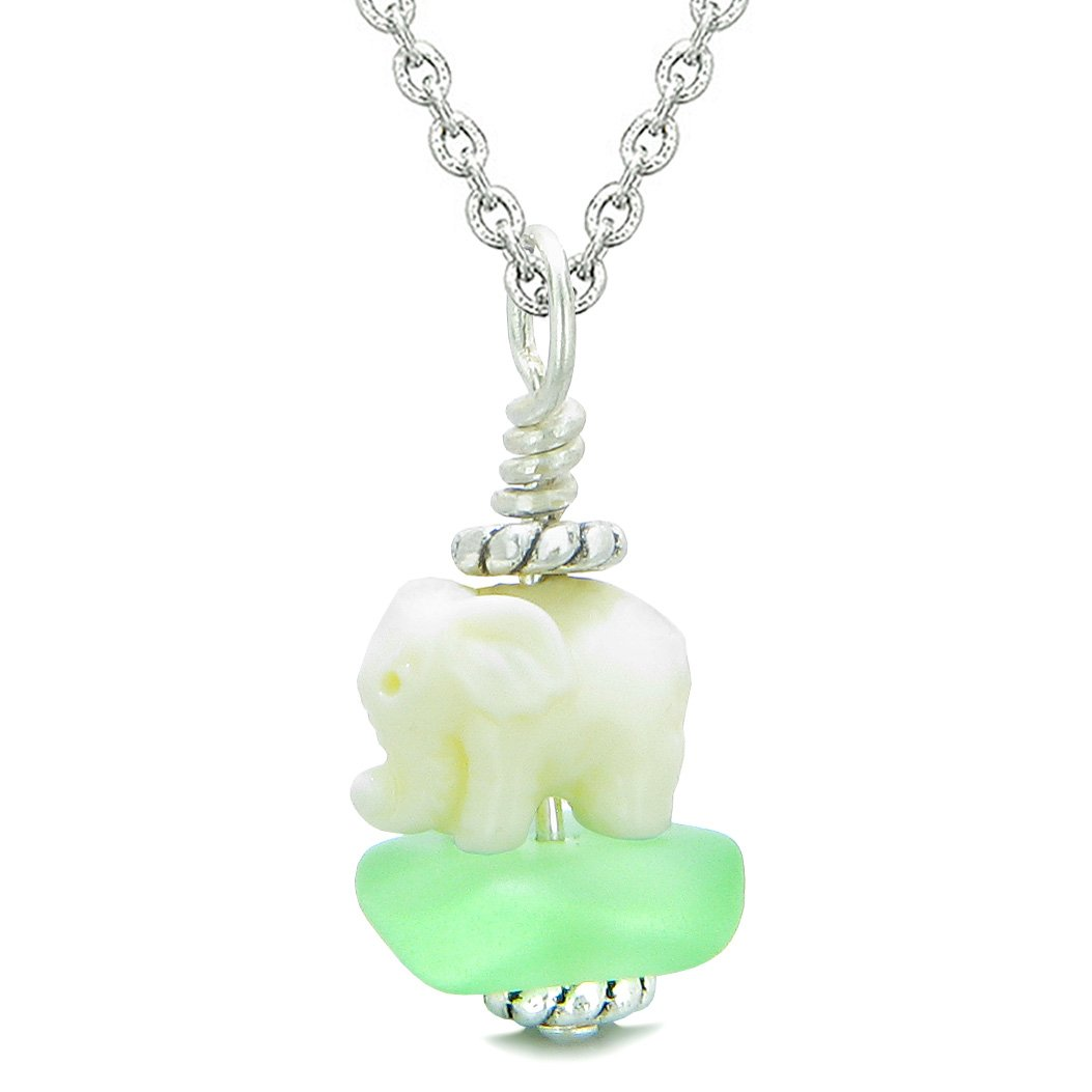 Sea Glass Mint Green Frosted Cloud White Elephant Lucky Charm Magic Amulet Pendant 18 Inch Necklace