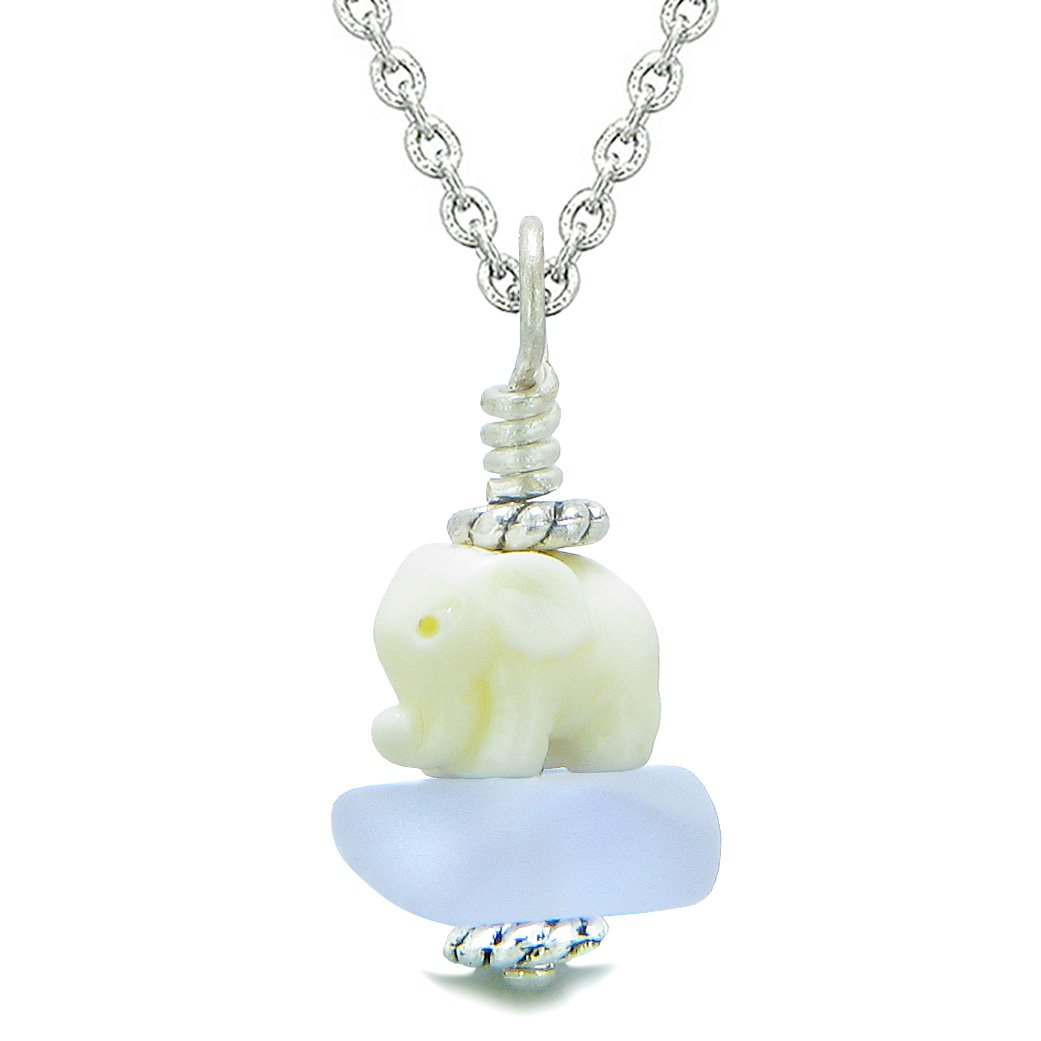 Sea Glass Pastel Purple Frosted Cloud White Elephant Lucky Charm Magic Amulet Pendant 18 Inch Necklace