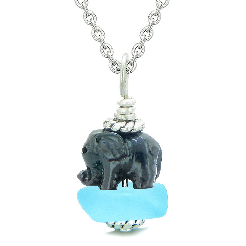 Sea Glass Sky Blue Frosted Cloud Black Elephant Lucky Charm Magic Amulet Pendant 22 Inch Necklace