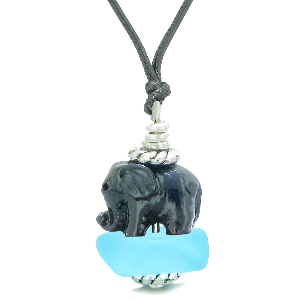 Sea Glass Sky Blue Frosted Cloud Black Elephant Lucky Charm Magic Amulet Pendant Adjustable Necklace