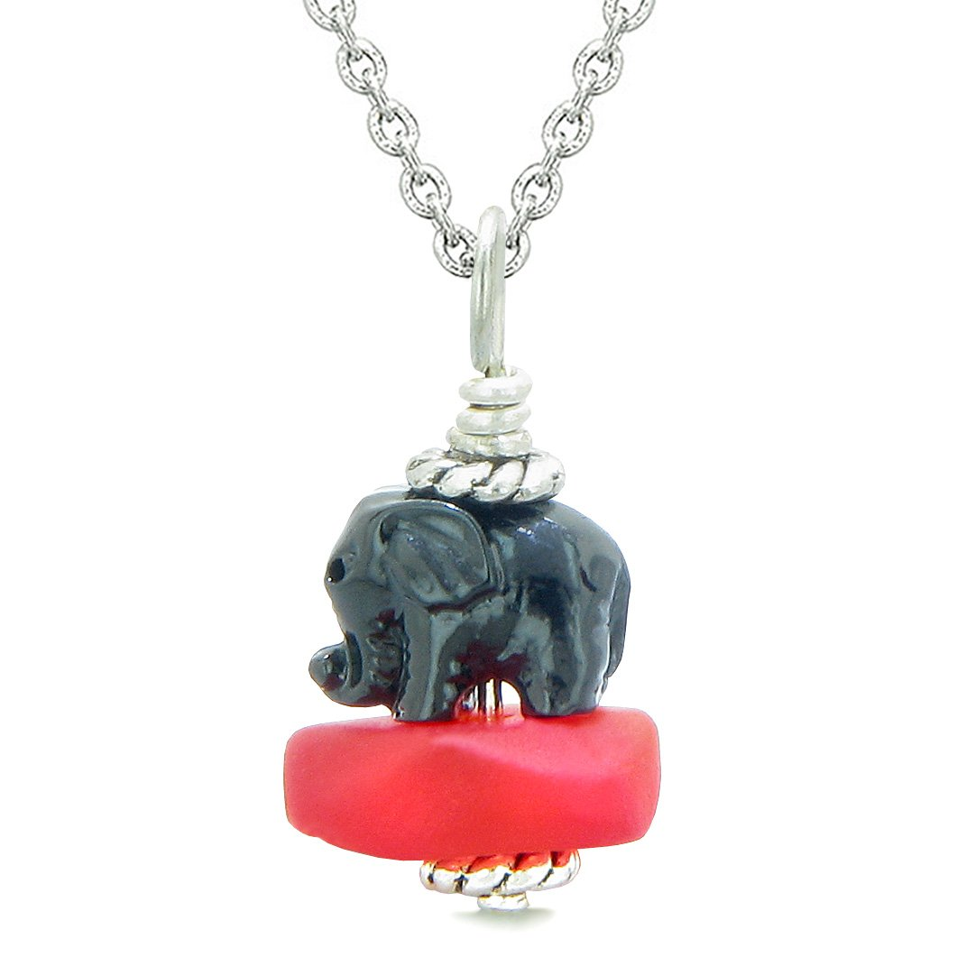 Sea Glass Royal Red Frosted Cloud Black Elephant Lucky Charm Magic Amulet Pendant 22 Inch Necklace