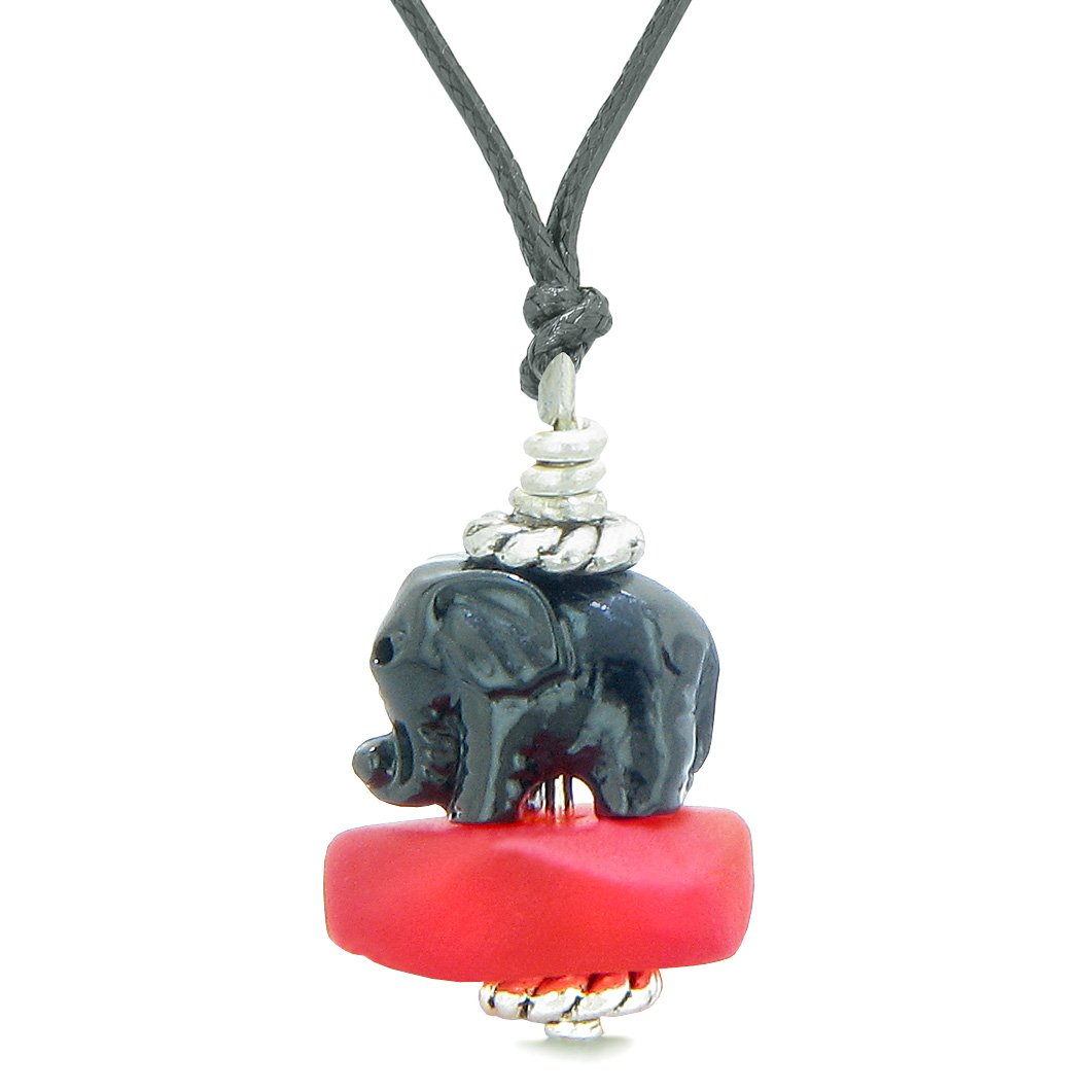 Sea Glass Royal Red Frosted Cloud Black Elephant Lucky Charm Magic Amulet Pendant Adjustable Necklace
