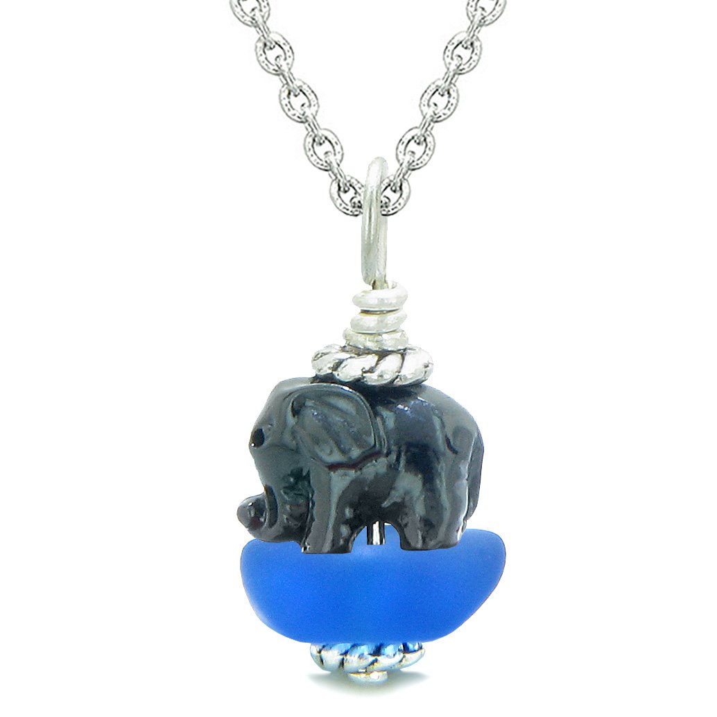 Sea Glass Ocean Blue Frosted Cloud Black Elephant Lucky Charm Magic Amulet Pendant 18 Inch Necklace