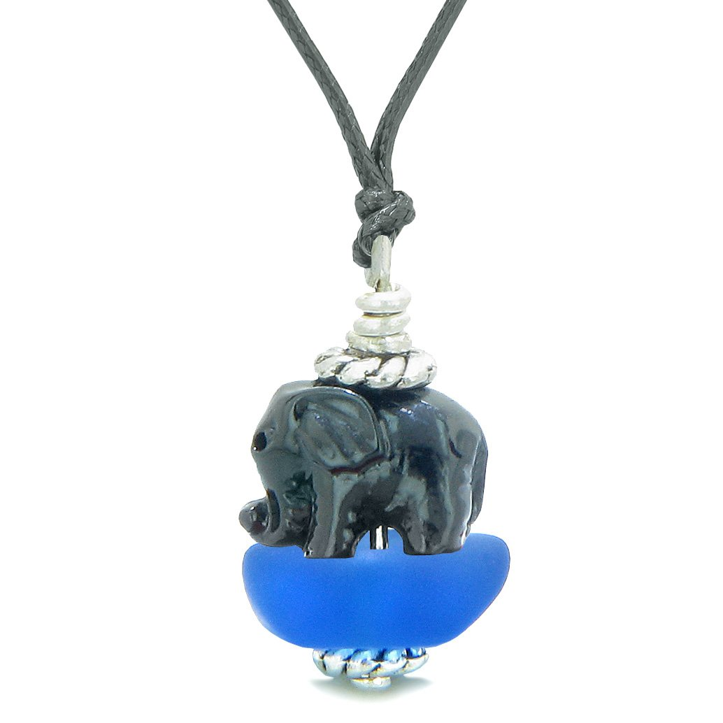Sea Glass Ocean Blue Frosted Cloud Black Elephant Lucky Charm Magic Amulet Pendant Adjustable Necklace