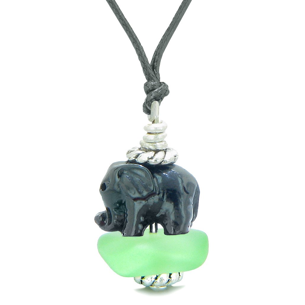 Sea Glass Mint Green Frosted Cloud Black Elephant Lucky Charm Magic Amulet Pendant Adjustable Necklace