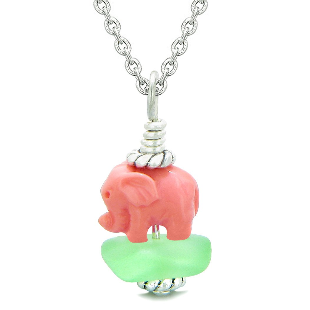 Sea Glass Mint Green Frosted Cloud Pink Elephant Lucky Charm Magic Amulet Pendant 18 Inch Necklace