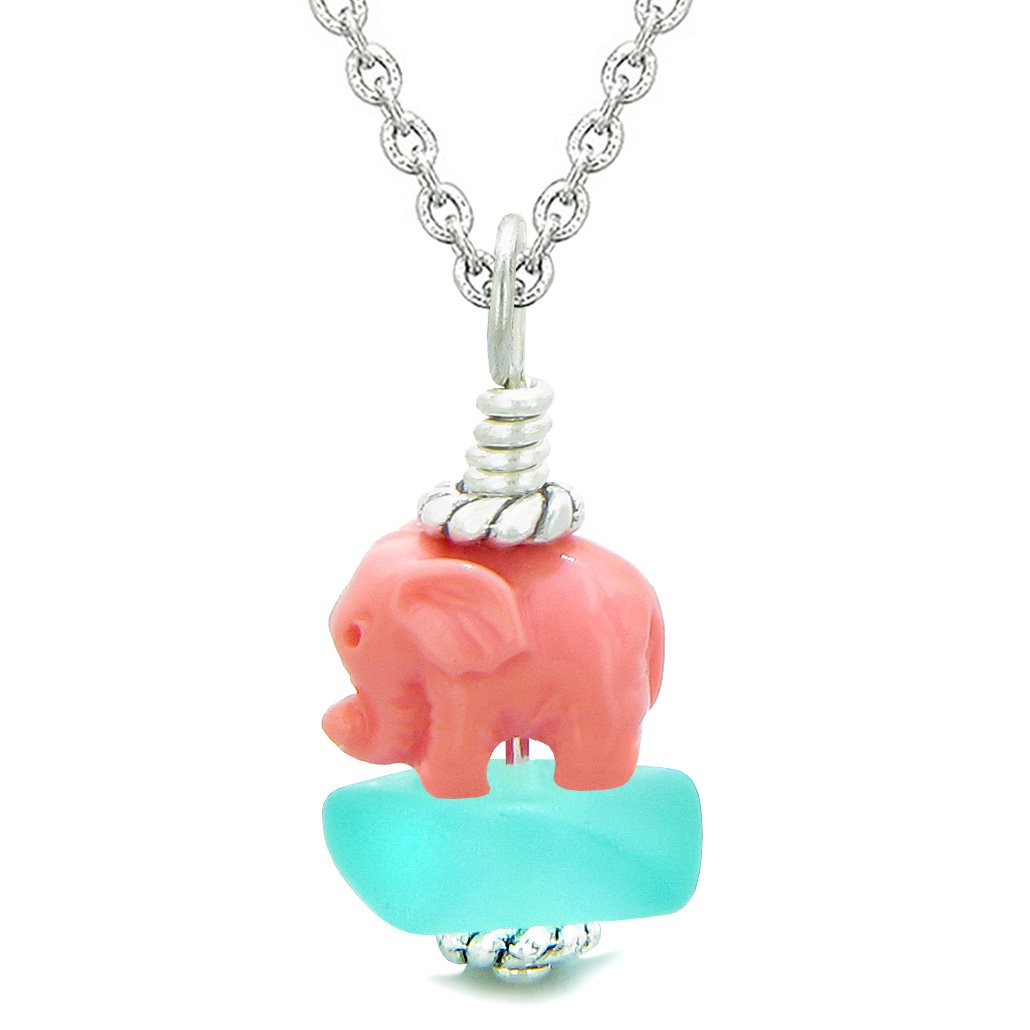 Sea Glass Aqua Blue Frosted Cloud Pink Elephant Lucky Charm Magic Amulet Pendant 18 Inch Necklace