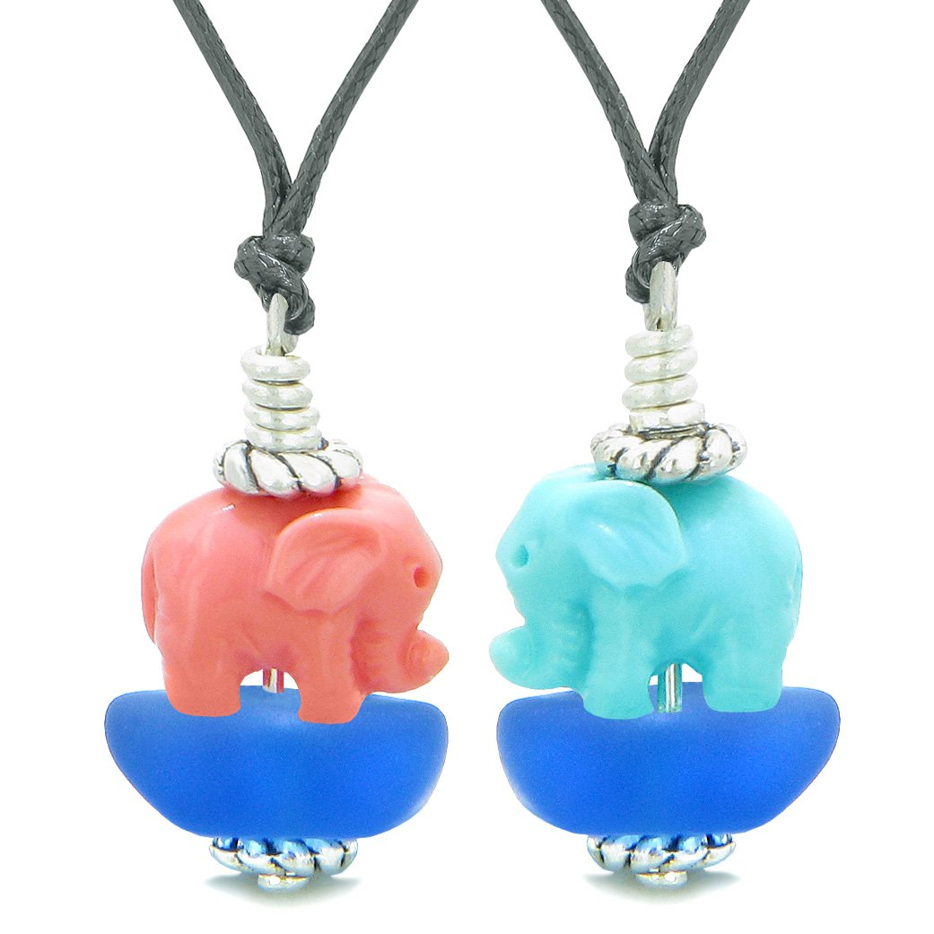 Icy Sea Glass Ocean Blue Cloud Celeste and Pink Lucky Elephants Love Couples BFF Set Amulet Necklaces