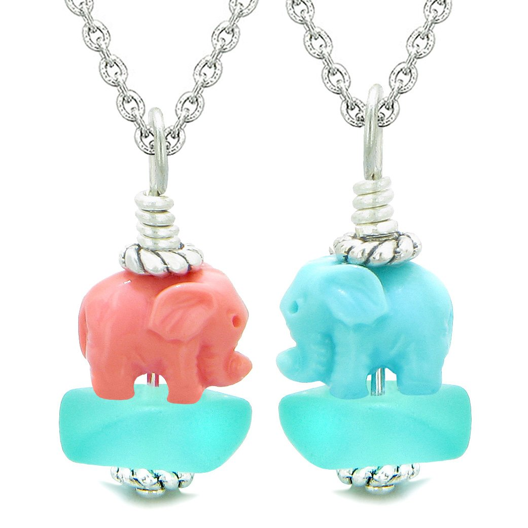 Icy Sea Glass Aqua Blue Cloud Pink and Celeste Lucky Elephants Love Couples BFF Set Amulet Necklaces