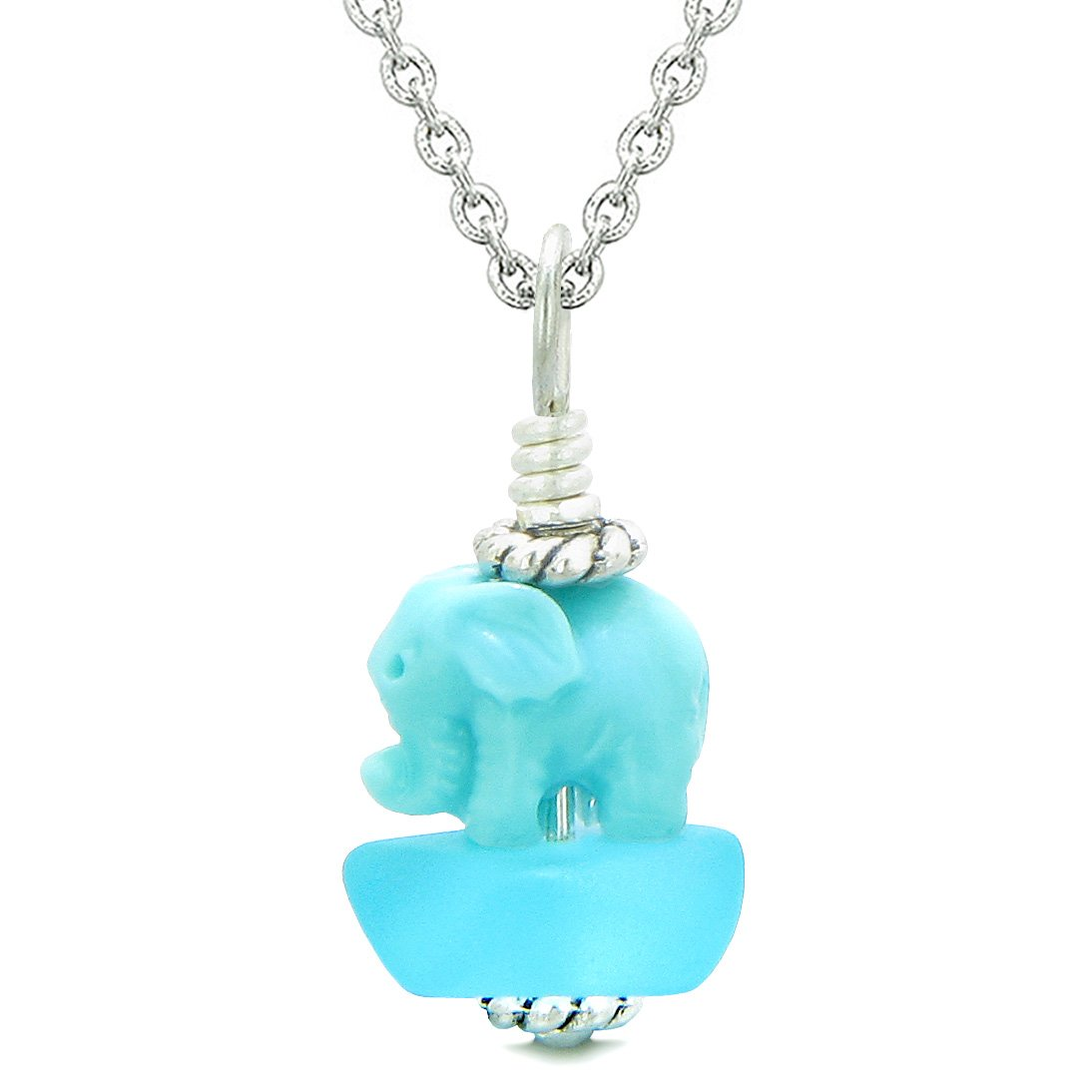 Sea Glass Sky Blue Frosted Cloud Celeste Elephant Lucky Charm Magic Amulet Pendant 22 Inch Necklace