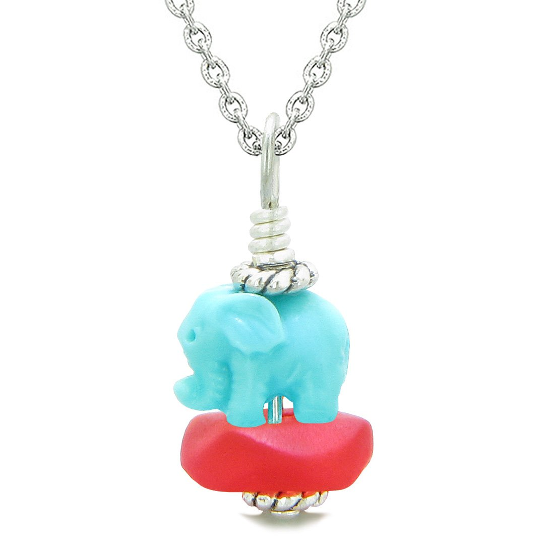 Sea Glass Royal Red Frosted Cloud Celeste Elephant Lucky Charm Magic Amulet Pendant 18 Inch Necklace