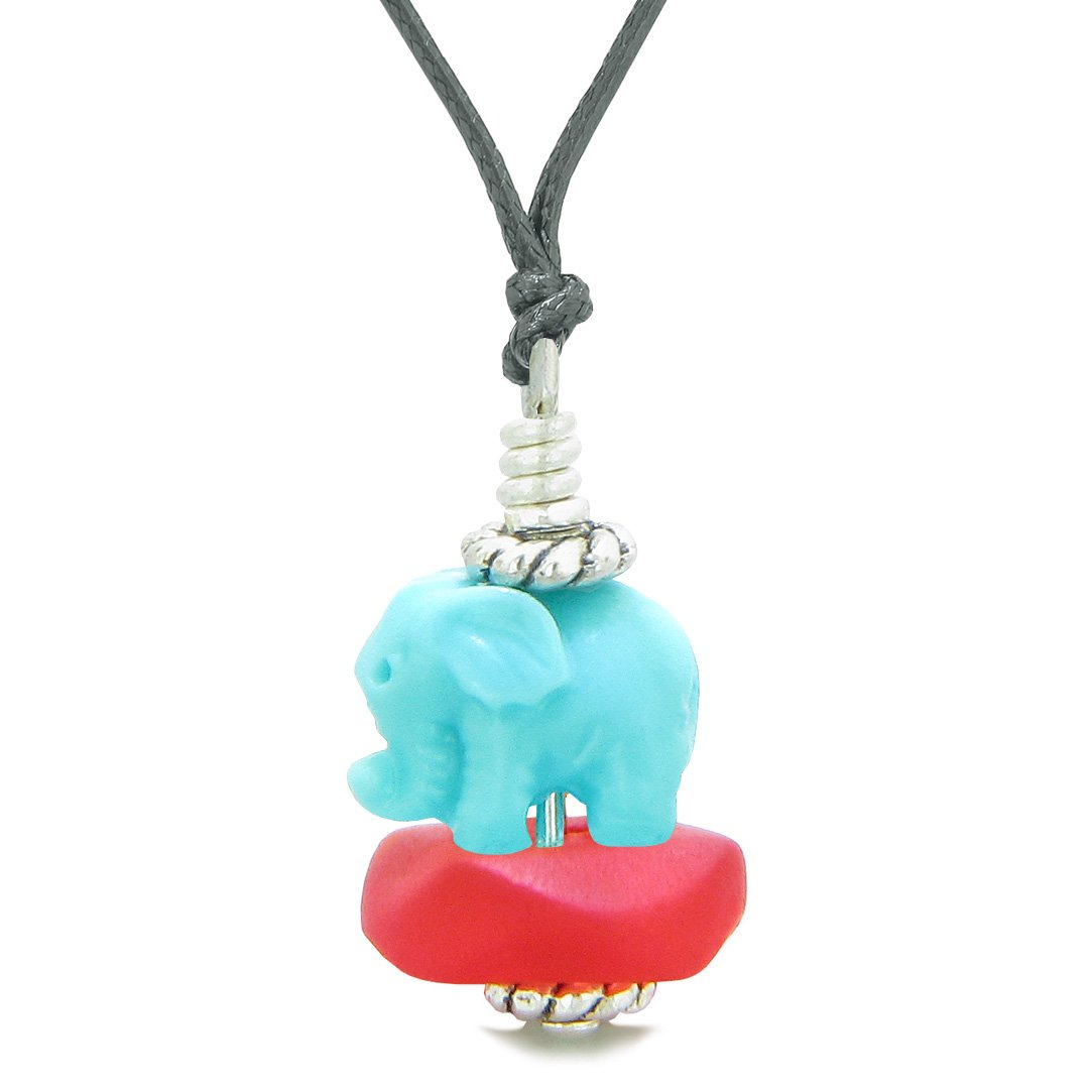 Sea Glass Royal Red Frosted Cloud Celeste Elephant Lucky Charm Magic Amulet Pendant Adjustable Necklace
