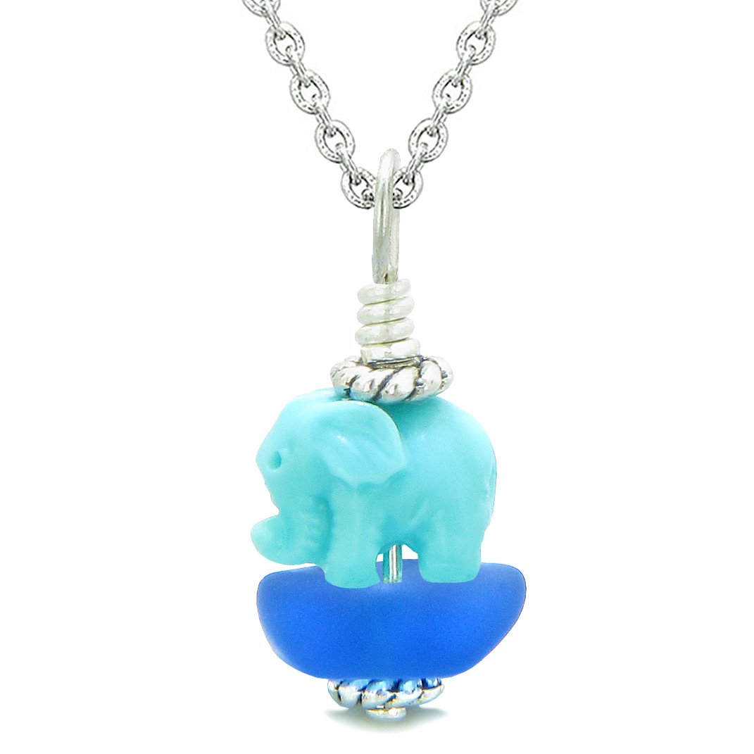 Sea Glass Ocean Blue Frosted Cloud Celeste Elephant Lucky Charm Magic Amulet Pendant 18 Inch Necklace