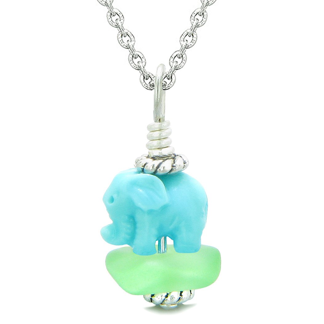 Sea Glass Mint Green Frosted Cloud Celeste Elephant Lucky Charm Magic Amulet Pendant 22 Inch Necklace