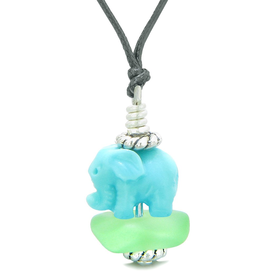 Sea Glass Mint Green Frosted Cloud Celeste Elephant Lucky Charm Magic Amulet Pendant Adjustable Necklace