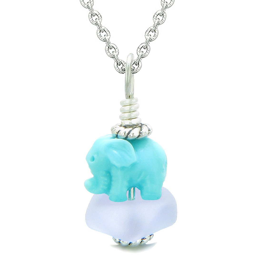 Sea Glass Pastel Purple Frosted Cloud Celeste Elephant Lucky Charm Magic Amulet Pendant 18 Inch Necklace