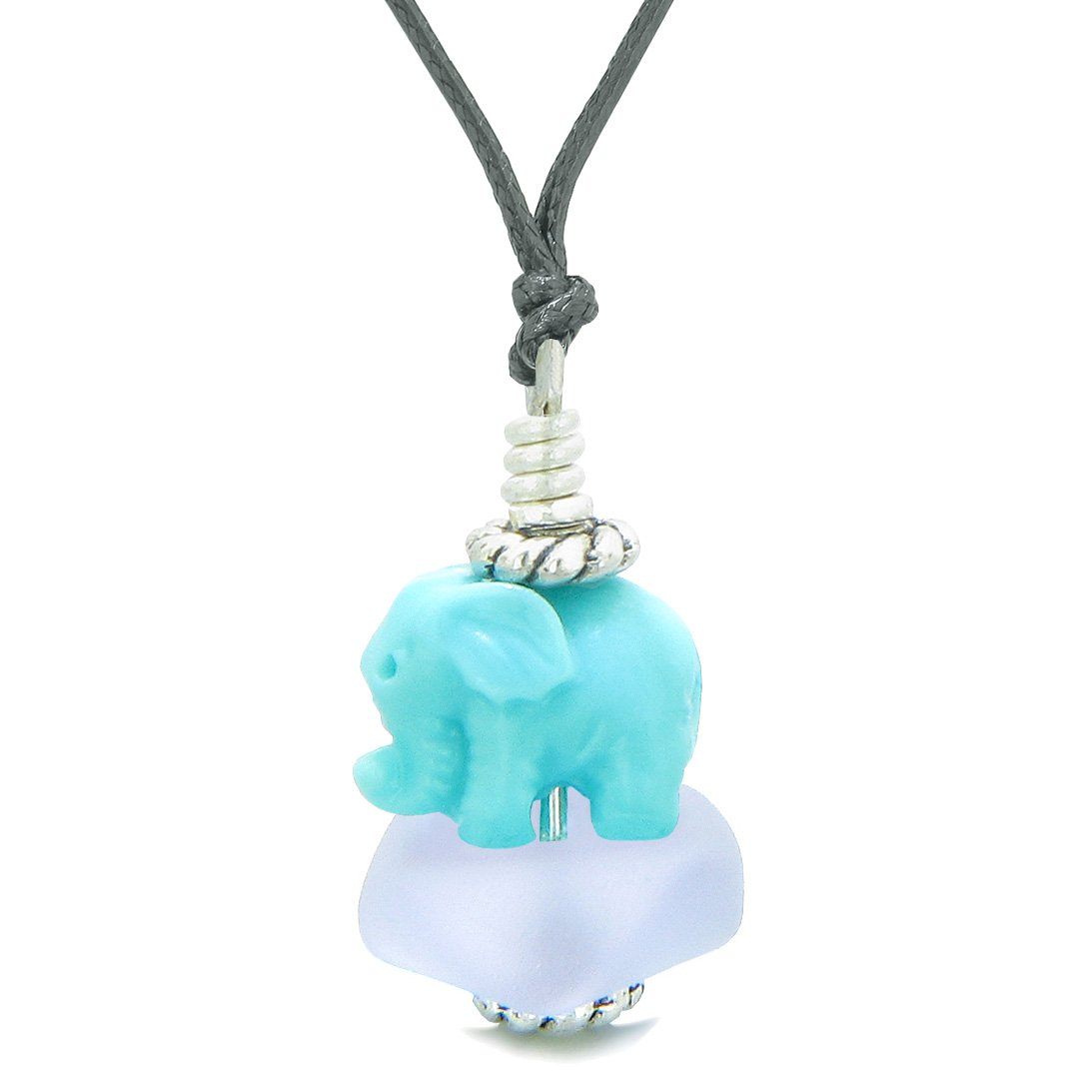 Sea Glass Pastel Purple Frosted Cloud Celeste Elephant Lucky Charm Magic Amulet Pendant Adjustable Necklace