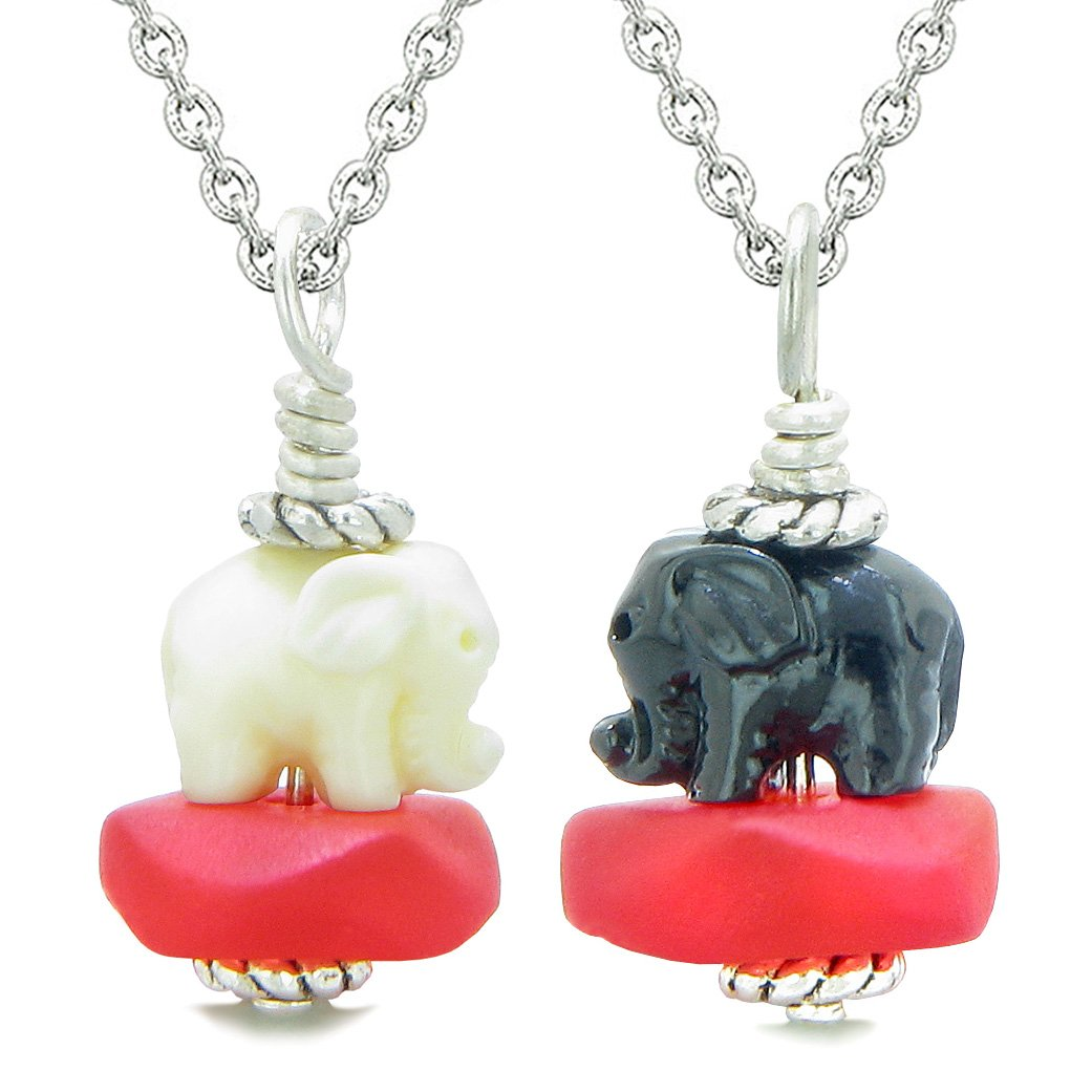 Icy Sea Glass Royal Red Cloud Black and White Lucky Elephants Love Couples BFF Set Amulet Necklaces
