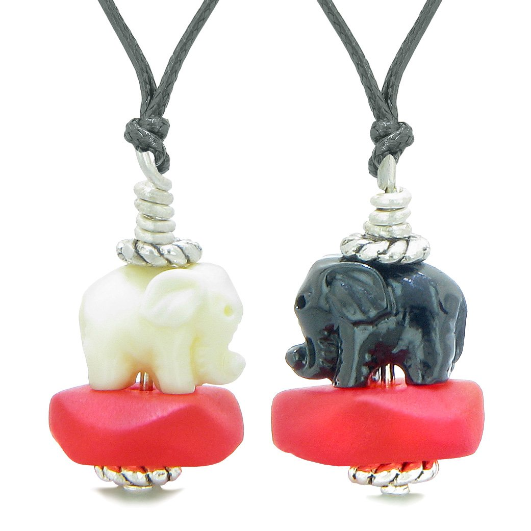 Icy Sea Glass Royal Red Cloud White and Black Lucky Elephants Love Couples BFF Set Amulet Necklaces