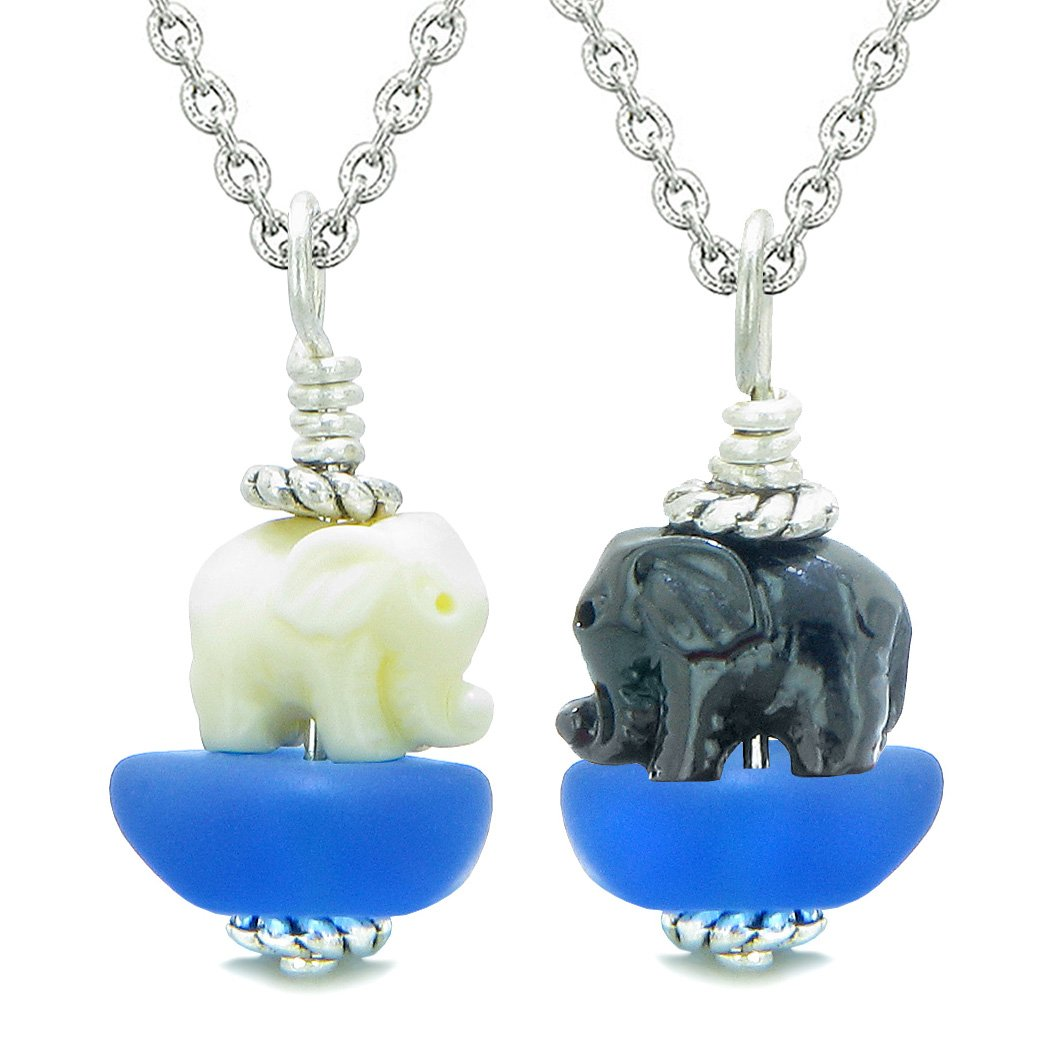 Icy Sea Glass Ocean Blue Cloud Black and White Lucky Elephants Love Couples BFF Set Amulet Necklaces