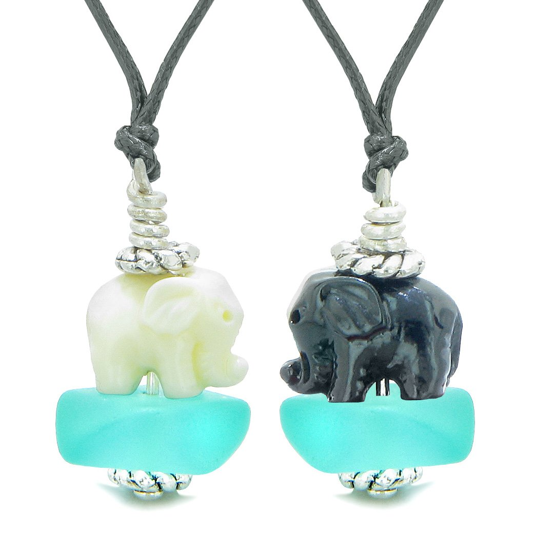 Icy Sea Glass Aqua Blue Cloud White and Black Lucky Elephants Love Couples BFF Set Amulet Necklaces
