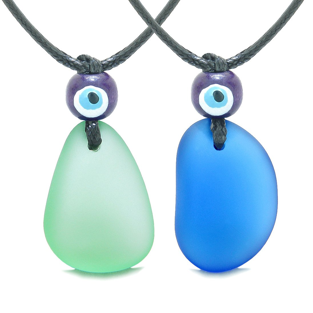 Free Form Unique Sea Glass Ocean Blue Mint Green Love Couples BFF Set Protection Amulet Drop Necklaces