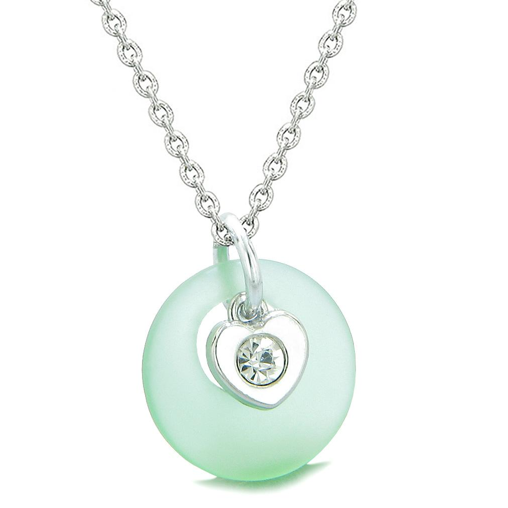 Sea Glass Lucky Donut Crystal Heart Charm Adorable Mint Green Positive Energy Amulet 22 Inch Necklace