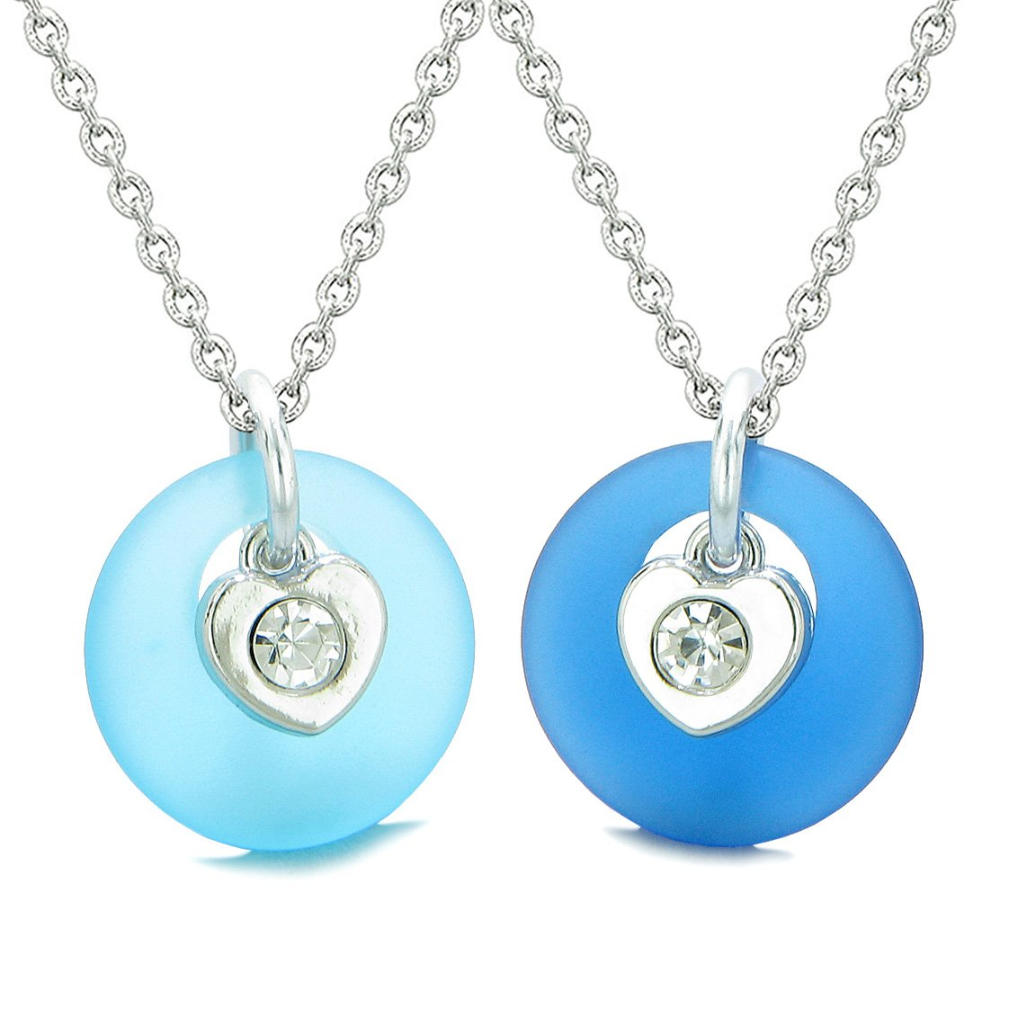Sea Glass Lucky Donut Crystal Heart Charm Sky and Ocean Blue Love Couples BFF Set Amulet Necklaces
