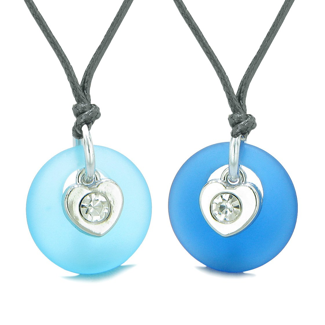 Sea Glass Lucky Donut Crystal Heart Charm Ocean and Sky Blue Love Couples BFF Set Amulet Necklaces