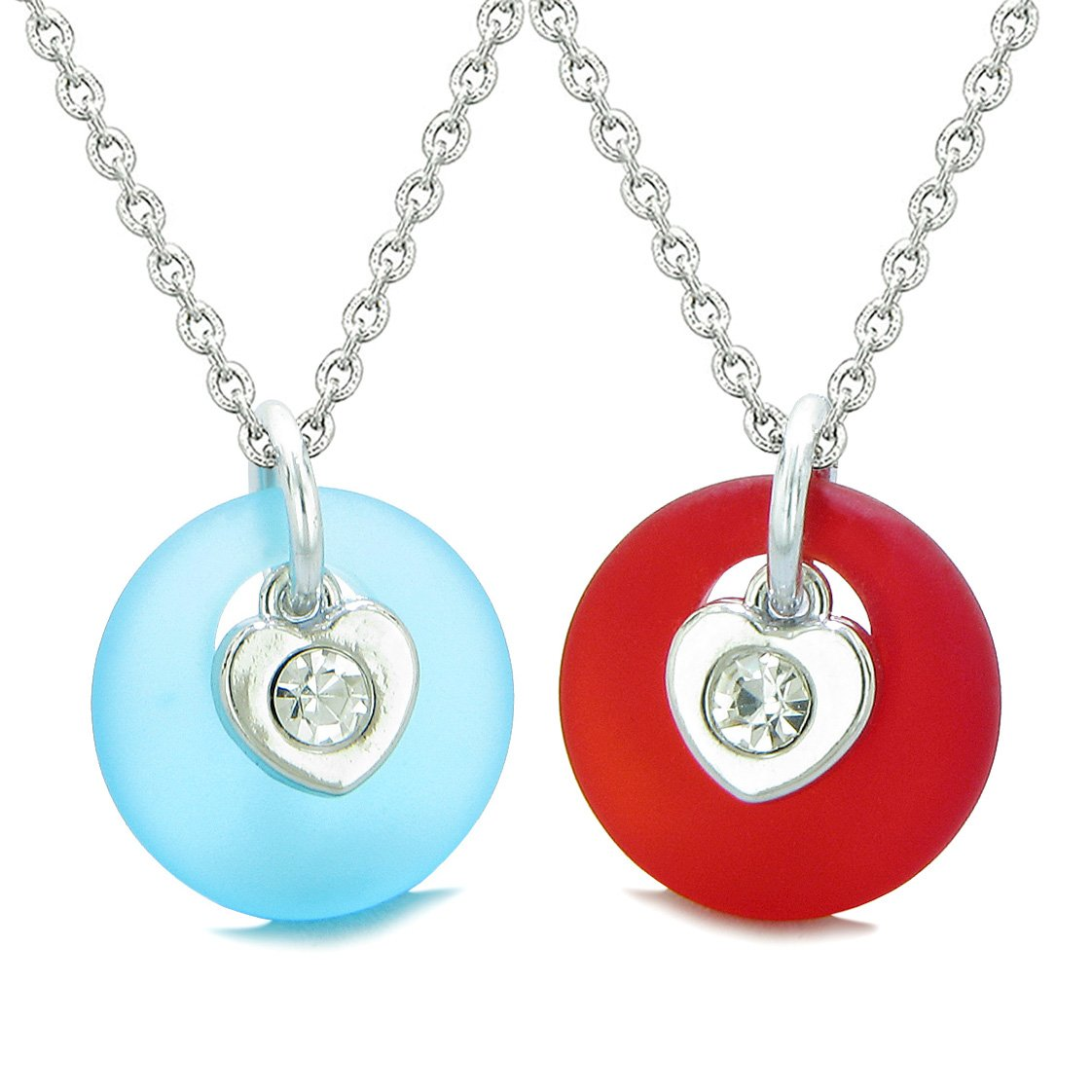 Sea Glass Lucky Donut Crystal Heart Charm Sky Blue Royal Red Love Couples BFF Set Amulet Necklaces
