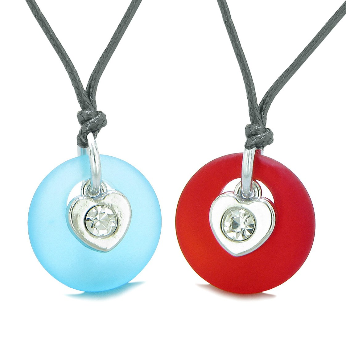Sea Glass Lucky Donut Crystal Heart Charm Royal Red Sky Blue Love Couples BFF Set Amulet Necklaces